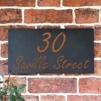 """Orange Brown """"Saville"""" House Sign"""