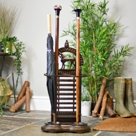 """Grand National"" Umbrella Stand With Horse Sculpture"
