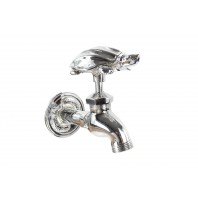 """Mr Terence"" Turtle garden tap in chrome finish"