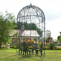 """Lady Arundel"" Black Scroll Garden Gazebo"