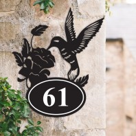 Hummingbird Iron House Number Sign