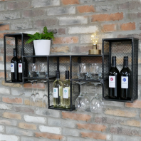 Black Rustic Industrial Cage Wall Mounted Wine Cabinet