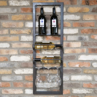 Industrial Iron Wine Bottle & Glass Holder