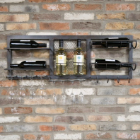 Iron Wine Bottle & Glass Holder With Hooks