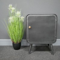 Industrial Mesh Bedside Cabinet with Wooden Handle