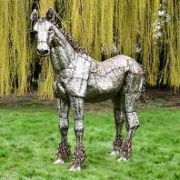 """""""Sea Biscuit"""" Standing Iron Horse Garden Sculpture"""