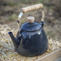 Black Enamel Stove Kettle with Wooden Handle