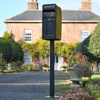 King George Rex Black Period Post Box & Stand