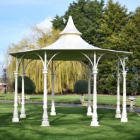 """Lady Leticia"" Large Cream Garden Bandstand"