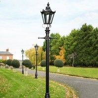 """Concordia"" Lamp Post & Hexagonal Lantern - Black 3.2m"