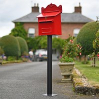 """Blushed Peony"" Red Goldhay Post Box"