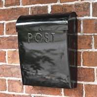 """Cityscape"" Black Contemporary Post Box"