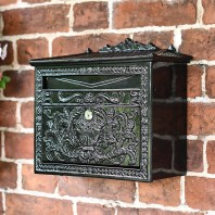 """Horncastle Abbey"" Black Wall Mounted Post Box"