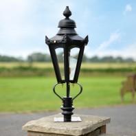 Black Hexagonal Pillar Light and Lantern Set 76cm