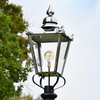 Polished Nickel Victorian Lantern 87cm