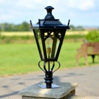 Black Gothic Pillar Light and Lantern Set 71cm