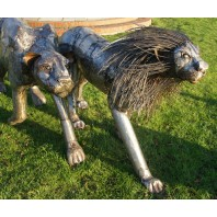 """Aslana Lioness"" and ""Prince of the Pride Lion"" Garden Sculpture"