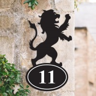 Lion Iron House Number Sign