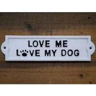 Dog Love Iron Sign Finished in White
