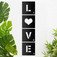 'LOVE' Black Scrabble Square Letters
