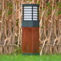 "Low Level ""Scandinavian"" Wood & Black Steel Bollard Light"
