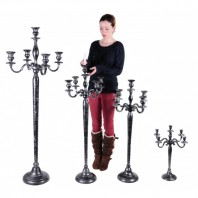 """Mallory Towers"" Victoriana Candelabra Antique Silver and Black"