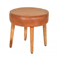 """The Coombe"" Mango Wood & Dark Brown Leather Stool"