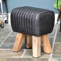 """The Preston"" Mango Wood & Black Leather Stool"