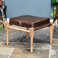 """The Pixton"" Mango Wood & Brown Leather Square Stool"