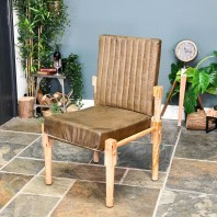 """The Rivington"" Mango Wood & Olive Leather Chair"