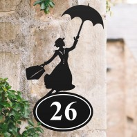 Mary Poppins Iron House Number Sign