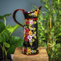 Large Black Traditional Hand Painted Narrowboat Style Jug - 42.5cm