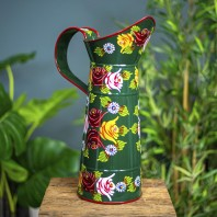 Large Green Traditional Hand Painted Narrowboat Style Jug - 42.5cm