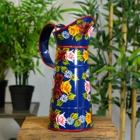 Medium Blue Traditional Hand Painted Narrowboat Style Jug - 35cm