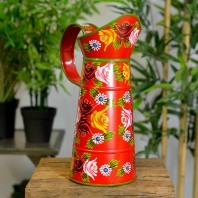 Medium Red Traditional Hand Painted Narrowboat Style Jug - 35cm