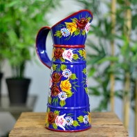Small Blue Traditional Hand Painted Narrowboat Style Jug - 31cm