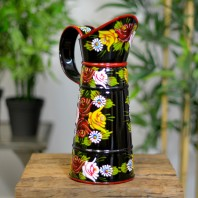 Small Black Traditional Hand Painted Narrowboat Style Jug - 31cm