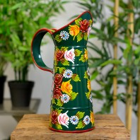 Small Green Traditional Hand Painted Narrowboat Style Jug - 31cm