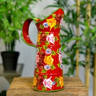 Small Red Traditional Hand Painted Narrowboat Style Jug - 31cm