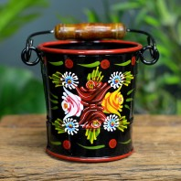 Small Black Narrowboat Hand Painted Bucket - 14cm