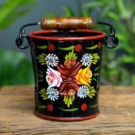 Small Black Narrowboat Hand Painted Bucket - 14cm