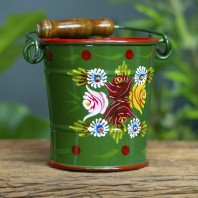 Small Green Narrowboat Hand Painted Bucket - 14cm