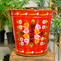Red Hand Painted XL Log Bucket - 30.5cm