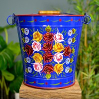 Hand Painted Blue Log Bucket - XXL- 35.5cm