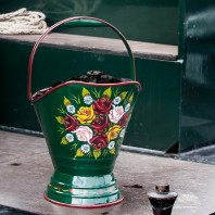 """Royal Avon Canal"" Green Narrowboat Hand Painted Coal Scuttle"