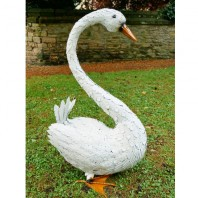 Metal Short Legged Swan Garden Sculpture