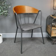 Metal, Wood & Leather Curved Back Dining Chair