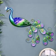 Metallic Glass & Metal Peacock Wall Art