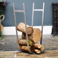 Minimalistic Antique Pewter Log Rack & Holder