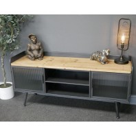 Modern & Industrial TV Cabinet with Shelves